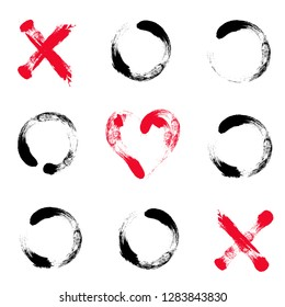 Hand drawn tic tac toe game. Game in love. Happy Valentines Day illustration with crosses, toe and red hearts in center.