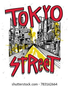 Hand drawn Tokyo street vector for t shirt printing, Graphic tee & Printed tee