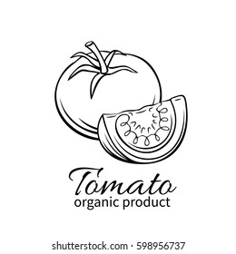 Hand drawn tomato icon. Vector badge vegetable in the old ink style for brochures, banner, restaurant menu and market