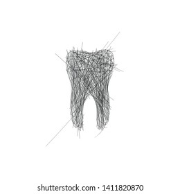 Hand drawn tooth out of lines, dantist office wall decoration. Editable stroke. Tooth doodle. Vector illustration isolated on white background.