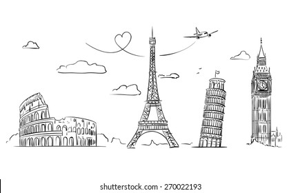 Hand drawn tourist collage with sights of Europe. Vector Illustration