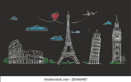 Hand drawn tourist collage with sights of Europe on blackboard. Vector Illustration