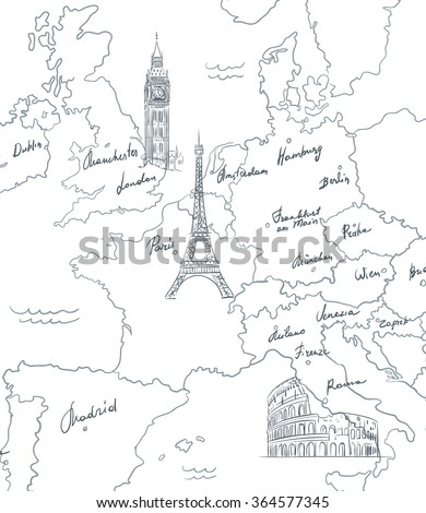 hand drawn tourist map sights europe stock vector royalty free Thailand in February hand drawn tourist map with sights of europe