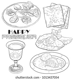 Hand drawn traditional pesach passover food