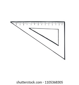 Hand drawn traingle ruler sketch isolated on white background. Vector illustration.