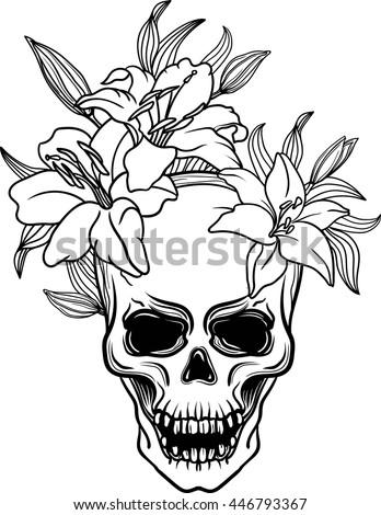 Hand Drawn Trash Skull Lily Flower Stock Vector Royalty Free