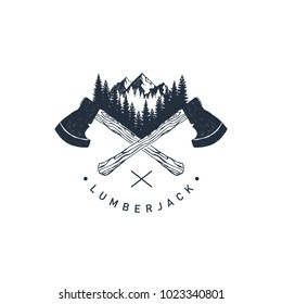 "Hand drawn travel badge with crossed axes, mountains and fir trees textured vector illustrations and ""Lumberjack"" lettering."