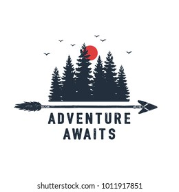 """Hand drawn travel badge with fir trees textured vector illustration and """"Adventure awaits"""" inspirational lettering."""