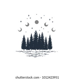 Hand drawn travel badge with fir trees and moon phases textured vector illustrations.
