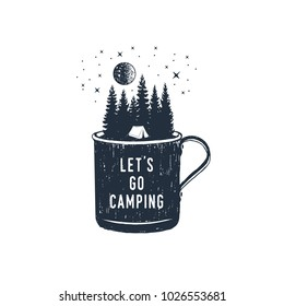 Hand drawn travel badge with fir trees in a metal mug textured vector illustration and