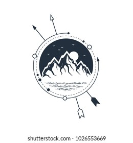 Hand drawn travel badge with mountain range textured vector illustration.