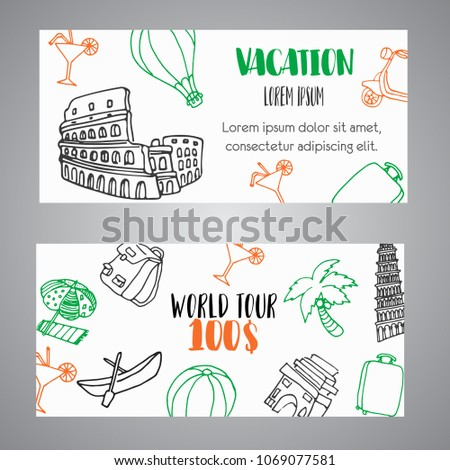 Hand Drawn Travel Gift Certificate Banners Stock Vector (Royalty ...
