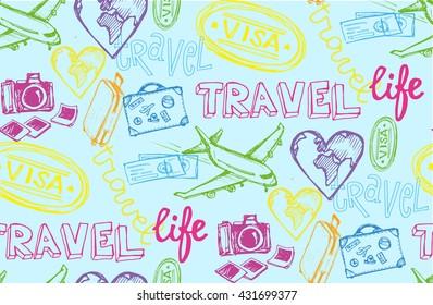Hand drawn travel pattern. Travel vector background. Vector illustration.