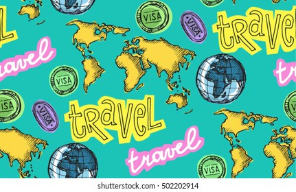 Hand drawn travel pattern. Travel vector background. Vector illustration.
