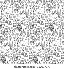 Hand drawn travel seamless pattern. Vector illustration of doodle  tourism wallpaper