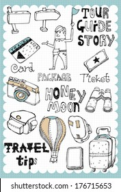 Hand drawn travel set