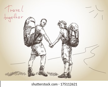 Hand drawn traveling couple holding hands Vector
