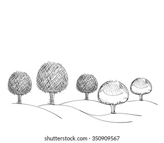 Hand drawn tree sketch. Black tree on the white background