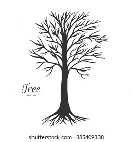 Hand drawn tree without leaves