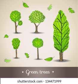 Hand drawn trees. Vector illustration