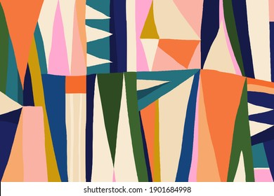 Hand drawn trendy abstract illustration print. Colorful creative collage pattern.
