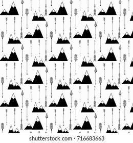 Hand Drawn Tribal  Arrow And Mountains Vector Pattern.