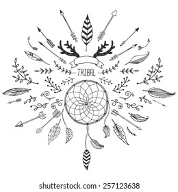 Hand drawn tribal collection with bow and arrows, feathers, dreamcatcher and horns for design hipster logo and more. Vector tribal, ethnic, aztec elements isolated on white background