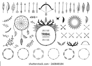 Hand drawn tribal collection with bow,arrows, feathers, dreamcatcher, horns, frame and border, floral elements for design logo, invitation and more. Vector ethnic, aztec, hipster symbols