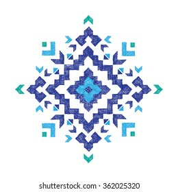 hand drawn tribal design element over white background