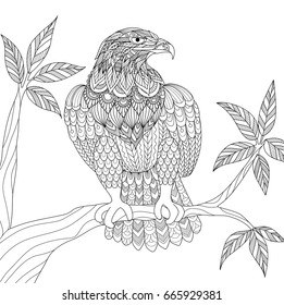 Hand drawn tribal eagle sitting on tree branch for adult coloring book page. Vector illustration.