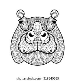 Hand drawn tribal hippopotamus head, animal totem for adult Coloring Page in zentangle style ,  Hippo illustration with high details isolated on white background. Vector monochrome sketch.