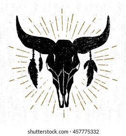 Hand drawn tribal icon with a textured buffalo skull vector illustration.