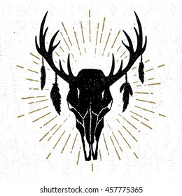 Hand drawn tribal icon with a textured deer skull vector illustration.