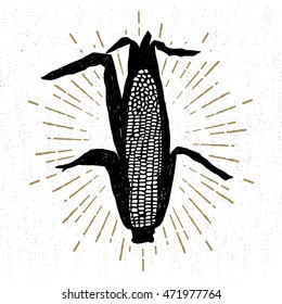 Hand drawn tribal icon with a textured corn vector illustration.