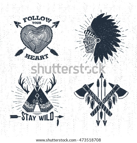 Hand Drawn Tribal Labels Set Tree Stock Vector Royalty Free