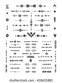 Hand drawn tribal patterns with stroke, line, arrow, boho elements, feathers, geometric symbols rustic style. Flash Tattoo, vector logo