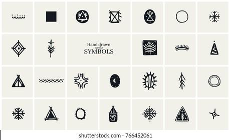 Hand drawn tribal symbols collection for logo Design.