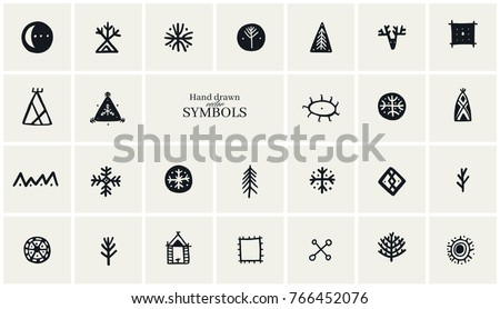 hand drawn tribal symbols collection logo stock vector royalty free