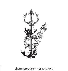 hand drawn trident of poseidon vector illustration. trident and ocean waves tattoo design.