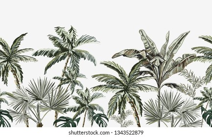 Hand drawn tropic  vintage botanical landscape, coconut  palm trees, banana trees, monstera, tropic plants. Floral seamless pattern on black  background. Exotic green jungle cheetah wallpaper.