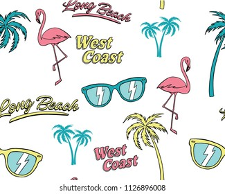 Hand drawn tropical elements seamless pattern. Tropical background. Flamingo doodle illustration. Vector illustration. Seamless pattern with cartoon palm trees, sunglasses and flamingo.