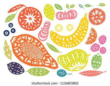 Hand drawn tropical and exotic fruits isolated on white background in unique trendy organic cutout linocut style. Vector illustration for menu design, packaging, cooking book.