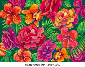 hand drawn tropical flowers, bright floral jungle  background