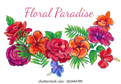 hand drawn tropical flowers, bright floral jungle background, vector isolated flower composition