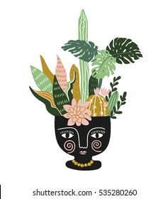 Hand drawn tropical house plants in the ethnic ceramic pot. Scandinavian style illustration, modern and elegant home decor. Vector print design.