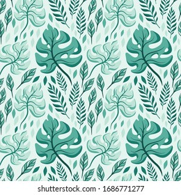 Hand drawn Tropical Leaves ornament. Colorful Vector seamless pattern.