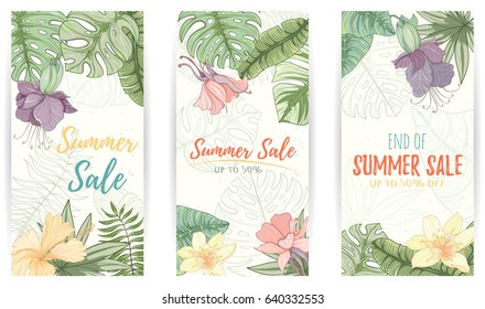 Hand drawn tropical palm leaves sale banner set. Summer vector illustration of areca palm, banana leaves, monstera, fan palm can be used as invitation, postcard, flyer banner or website decoration.