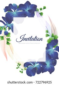 Hand drawn Tropical plant, blue Vanda Coerulea orchid, Adiantum leaves and feather, invitation card design