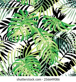 Hand drawn tropical plants watercolor seamless vector pattern monstera leaf and palm, black and white leaves silhouette background