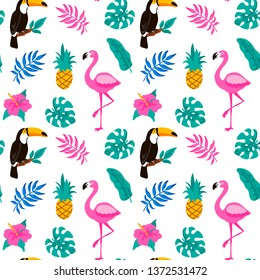 Hand drawn tropical seamless pattern with palm tree, monstera leaves, toucan and pink flamingo on white background. Vector illustration